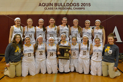 girls bball regional final . aquin v. dakota . 2.13.15